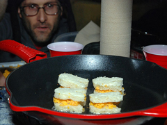 Jovino grilling up a cheese tornado.